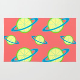 Planet Lime Pattern | Solar System | Space | Citrus Planets | Tropical Fruit | pulps of wood Rug