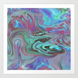 Fluid Nature - Blue Lava - Abstract Acrylic Pour Art Art Print