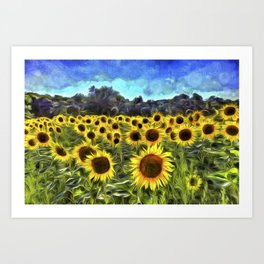 Sunflower Fields Of Dreams Van Goth Art Print