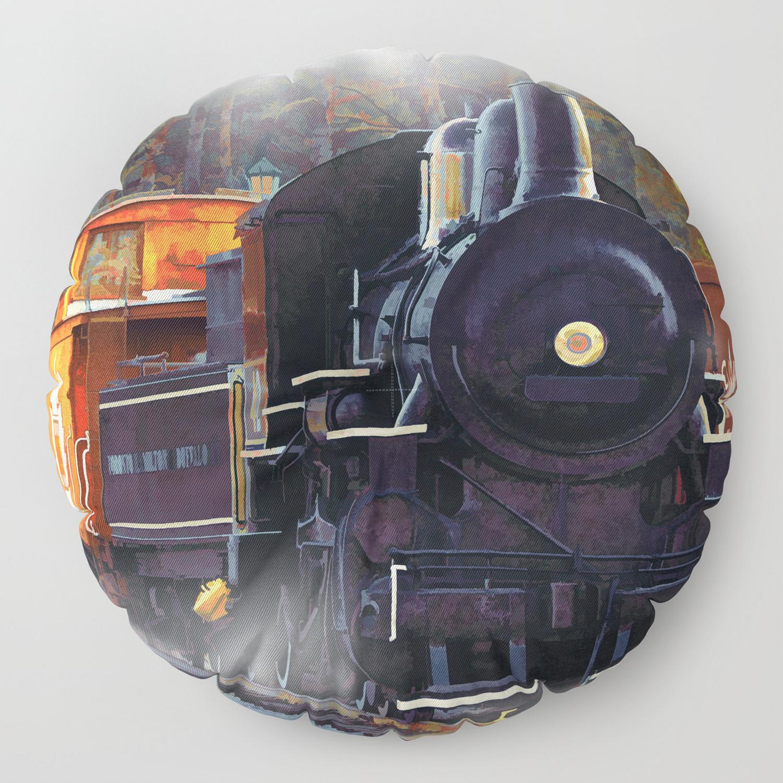 The Rail Yard - Steam Train Floor Pillow