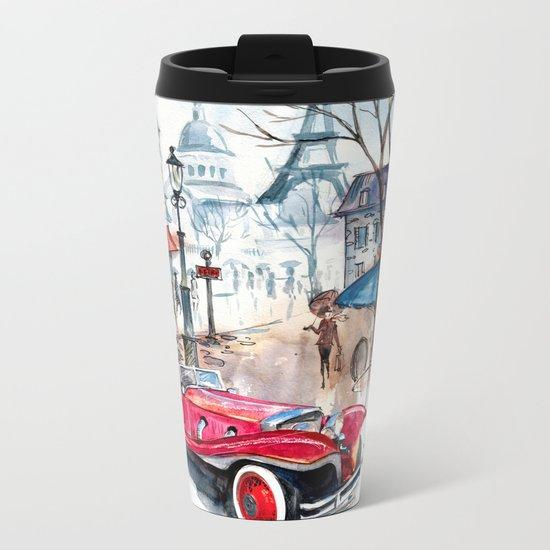 Red retro car Metal Travel Mug
