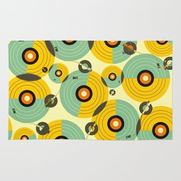 Turntables (Yellow) Rug