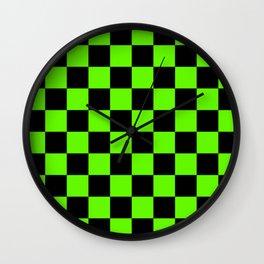 Checkered Pattern: Black & Slime Green Wall Clock