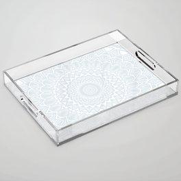 Minimal Minimalistic Light Cool Gray Mandala Acrylic Tray