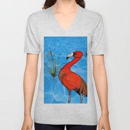 Flamingo Strut Unisex V-Neck