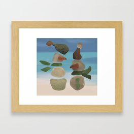 Finding Unexpected Sea Glass at the Beach #snowman #seaglass Framed Art Print