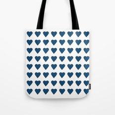 64 Hearts Navy Tote Bag