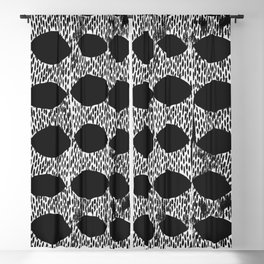 Arches Block Print in Black Blackout Curtain