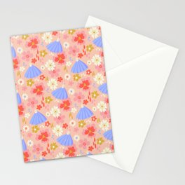 September Floral Chaos in Bubblegum Pink Stationery Cards