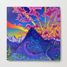 psychedelic colorful lines nature mountain trees snowy peak moon sun rays hill road artwork star sky Metal Print
