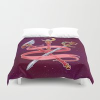 magical girl Duvet Covers featuring Fight Like a Magical Girl by Unbearable Bear