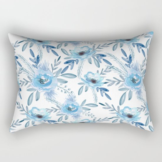 Blue roses. Watercolor Rectangular Pillow