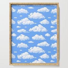White fluffy clouds pattern Serving Tray