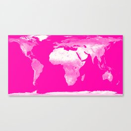 World Map Pink & White Canvas Print