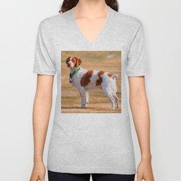 Brittany Spaniel Dog Beautiful Unisex V-Neck