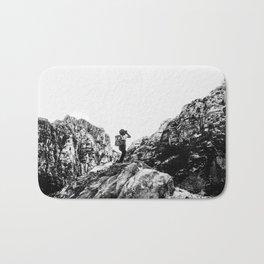 Boys Adventure | Rustic Camping Kid Red Rocks Climbing Explorer Black and White Nursery Photograph Bath Mat