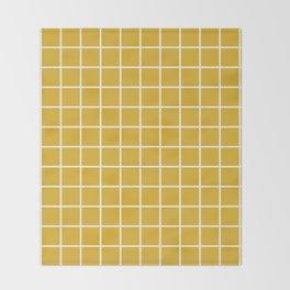 Minimalism Window Pane Grid, Mustard Yellow Throw Blanket