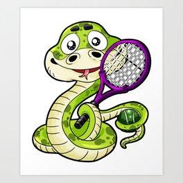 Tennis Player Viper Snake Racket Badminton Comic Art Print