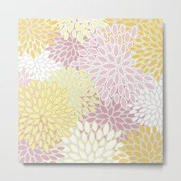 Floral Prints, Soft, Yellow and Pink, Design Prints Metal Print