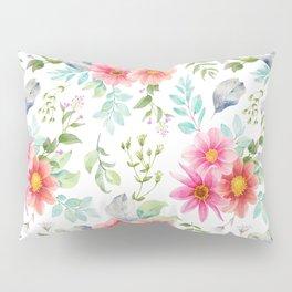 Modern pink orange teal elegant hand painted floral Pillow Sham