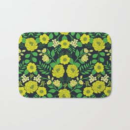 Kelly Green, Navy Blue, Lime & Yellow Floral Pattern Bath Mat