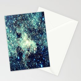gAlAxY Stars Teal Turquoise Blue Stationery Cards