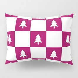 Christmas Tree - berry and white check Pillow Sham