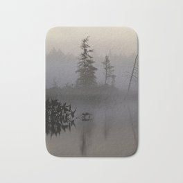 trees and weeds in the fog Bath Mat