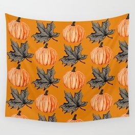 Orange Pumpkin Autumn Leaf Wall Tapestry