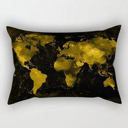 Gold Marble World Map Rectangular Pillow