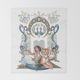 Every Girl Is A Princess 03: Arabian Nights Art Nouveau Aladdin's Princess Jasmine and Rajah Throw Blanket