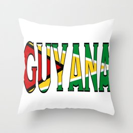 Guyana Font With Guyanese Flag Throw Pillow