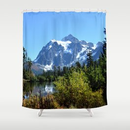 Mount Shuksan between the Trees Shower Curtain