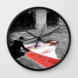 Street Art in Bologna Black and White Photography Color Wall Clock