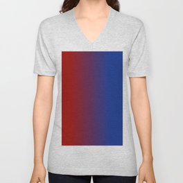 Ombre in Red Blue Unisex V-Neck