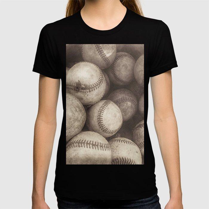 Bucket of Old Baseballs in Sepia T-shirt