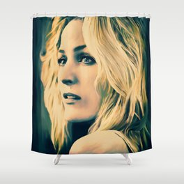 Gillian Anderson in oil olors Shower Curtain