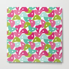 Rolly Polly Fish Heads Pink Metal Print