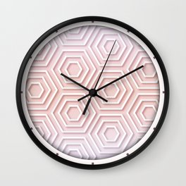 3D Hexagon Gradient Minimal Minimalist Geometric Pastel Soft Graphic Rose Gold Pink Wall Clock