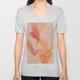 Abstract Peach Watercolor Unisex V-Neck