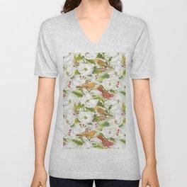 Magnolia/ Birds Unisex V-Neck
