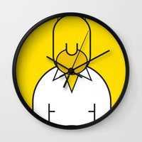 homer Wall Clocks featuring Homer by Ale Giorgini