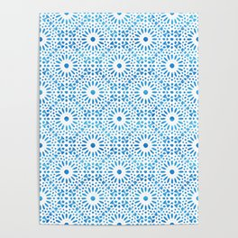 Mandala VII - Metallic Turquoise Abstract Impressionism Poster