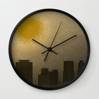 miami Wall Clocks featuring Miami by Maria Julia Bastias