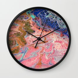 Flamingos by the Sea Wall Clock