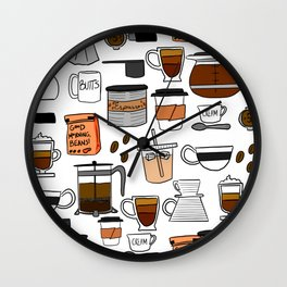 Coffee, Coffee Everywhere and All the Drops to Drink Wall Clock