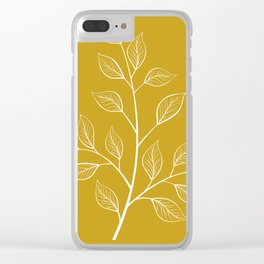 White Branch and Leaves on Mustard Yellow Clear iPhone Case