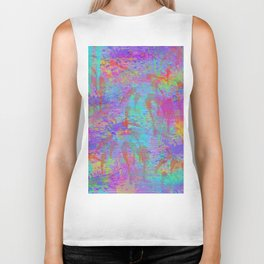 Whimsical pink teal neon green yellow abstract watercolor Biker Tank