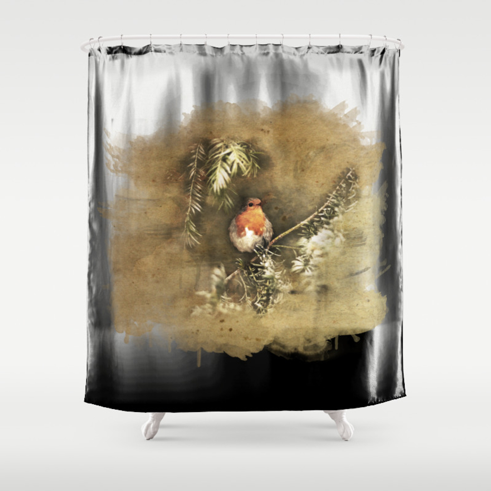Robin The Redbreast Shower Curtain by Weltenraser (CTN8489565) photo