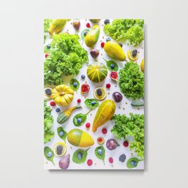 Fruits and vegetables pattern (1) Metal Print